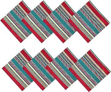 """Winslow 夏季条纹室内/室外防污防水面料桌布 - 露台、野餐、烧烤、厨房和餐厅桌布餐巾 """"Multi"""" Set of 8 Napkins"""