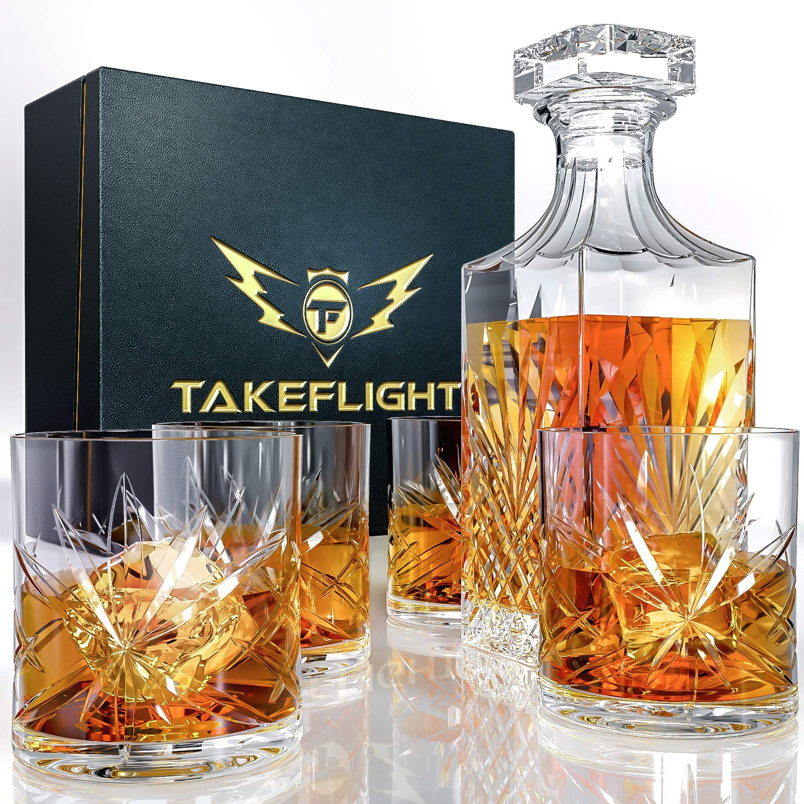 *とウィスキーグラスセット - スコットランドに適した4つの結晶ウイスキーグラスと華やかなスタイル*、バーボンカクテルはヴィンテージファッションメガネシニアギフトボックスに与えられた*バーアクセサリー、男性へのプレゼントされます