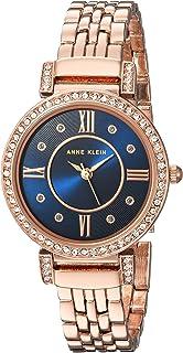 ANNE KLEIN 女士 施华洛世奇水晶点缀玫瑰金色调手镯表,Rose Gold/Blue