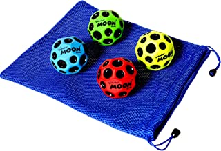 Waboba MOON Extreme Bounce Bundle of 4 Balls in 4 Neon Colors BONUS Soft Nylon Net Drawstring 9 x 12? Royal Blue Carry Bag