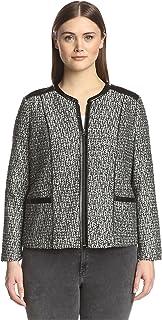 NYDJ Plus Women's Metallic Leather Tweed Jacket
