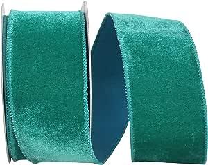 Reliant Ribbon 93592W-510-40F 豪华天鹅绒毛绒线边丝带,祖母绿