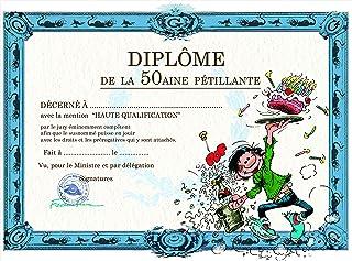 Gaston Lagaffe 生日卡片文凭 50aine Pétillant – 蛋糕蜡烛 用于奶油饼干 酒 花瓣 香槟 塞子 桶