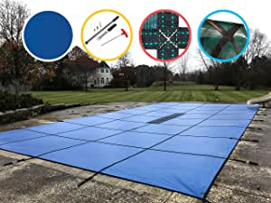 Water Warden Pool Safety Cover Solid Blue 16 by 40-Feet Pool
