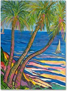 Trademark Fine Art Three Coconut Palms Artwork by Manor Shadian 35 到 47 英寸