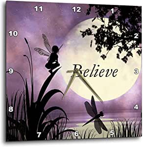 """3dRose LLC dpp_35696_2 Wall Clock, 13 by 13-Inch, """"Believe, Fairy with Dragonflies with Moon and Purple Sky"""""""