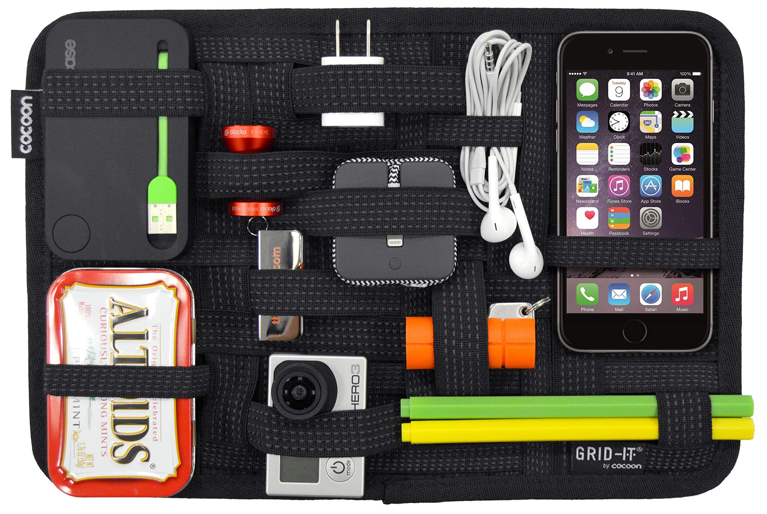 COCOON GRID-ITは、創造的なストレージプレートiPhone / Uディスクデータ回線キートラベルアクセサリーポータブルデジタルストレージ環境ファブリック仕上げ号ブラック