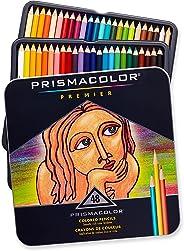 Prismacolor 3598T Premier Soft Core 彩色铅笔,颜色平滑的软核厚铅笔,高品质颜料,多种颜色,48支装
