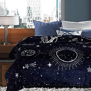 Chanasya Gold Fox 豪华自然色彩印花装饰羊毛毯 - 超软毛绒夏尔巴蓝*床沙发沙发椅(127 x 165.1 cm) Solar-navy Queen / Full SOLAR-NAVYGRAY-QUEEN