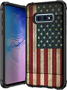 MINITURTLE 兼容三星 Galaxy S10e,三星 Galaxy S10 Lite G970黑色弹性 TPU 手机壳超薄防撞壳 [Flex Force]G970 Vintage American Flag