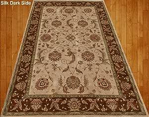Home Must Haves 米色棕色*红色橙色传统波斯花卉人造丝地毯