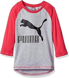 Puma 女童七分袖后背低圆领上衣