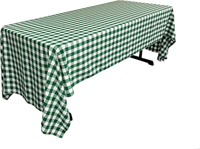 "LA Linen 方格桌布,152.4 x 304.8 cm,珊瑚色 暗绿色(Hunter) 60"" X 120"" TCcheck60x120green"