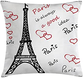 "Eiffel Tower Decor Throw Pillow Cushion Cover by Ambesonne, Eiffel ""Paris is Always a Good Idea"" Tourism Locations Love Valentine's, Decorative Square Accent Pillow Case, 16 X 16 Inches, Black and Red"