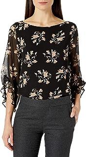 Calvin Klein 女士圆领荷叶边袖衬衫