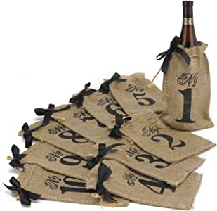 Hortense B. Hewitt Burlap Table Number Wine Bags Wedding Accessories, Set of 10