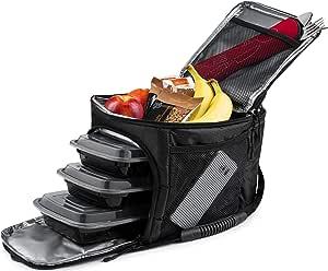 Rockland Guard 膳食袋 - 隔热冷藏袋,冰袋,氯丁橡胶盒中的餐具套装 - 便携式紧凑设计,适用于工作场所、健身房或旅行的进食管理。 黑色 Meal Prep Bag 43237-2