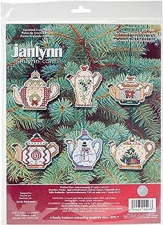 Prima Marketing 21-1486 14 只圣诞茶壶装饰品数十字绣套件,3 英寸,6 件套