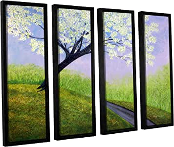 ArtWall 4 Piece Herb Dickinson's Road to Cobbly Nob Floater Framed Canvas Set, 24 x 32""