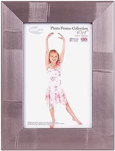 Inov8 英国制造传统图片/相框,条纹银色,25.40x20.32cm,4PK_Parent_SPIG9 Striped Silver 6x4 inch PFE-STSL-64