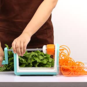 LEKOCH Essential Kitchen Tools Onion Vegetable Processor Hand Speedy Chopper Vegetable Fruits Chopped Shredders & Slicers,850ml, With 5 Sharp Stainless Steel Blade Bule Spiralizer