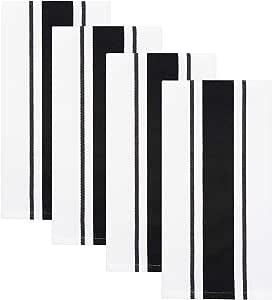 Sticky Toffee 棉质厨房餐具毛巾,条纹,4 件装,69.85 厘米 x 49.53 厘米 黑色