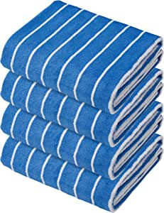【Amazon.co.jp限定】世嘉 cararikuo条纹 超细纤维 毛巾套装 系列 条纹 蓝色×白色 100×40cm cararikuo