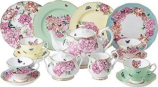 Miranda Kerr Royal Albert 茶杯/茶杯/20cm 盘子/茶壶/糖/奶油色,15 件套