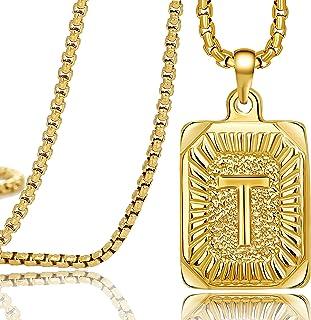 MEMGIFT 18K 真黄金首字母男士项链矩形大写吊坠 Monogram A-Z 不锈钢盒链 55.88 厘米独特时尚手工花式个性化女士珠宝