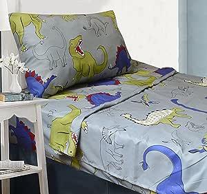 All American Collection 10 件单人床尺寸恐龙盖被套装,带毛茸茸的朋友,配套床单套装和窗帘套装 * SHEET SET ONLY