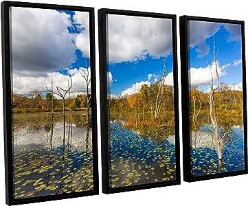 ArtWall 3 件 Cody York's Beaver Marsh Floater 带框画布套装 36x54 0yor001c3654f