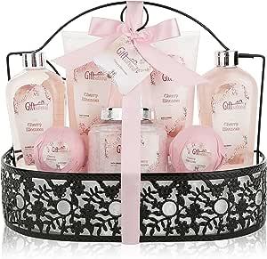 温泉水疗礼品篮,配有樱花香 – 沐浴套装包括淋浴凝胶、泡浴盐、沐浴炸弹等! 送给女性的毕业典礼、周年纪念日、生日或婚礼礼物