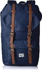 Herschel Supply Little America 大号 中性 经典系列 时尚双肩背包 可收纳15寸笔记本电脑 10014-00007 海蓝色/棕褐色合成革 25 L(亚马逊进口直采,加拿大品牌)