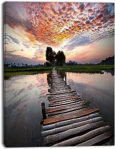 设计艺术木制桥在极大天海岸的帆布下悬挂艺术墙照片艺术印刷品印刷品