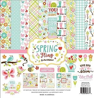 Echo Park Paper Company Spring Fling 系列纸质包,粉色,黄色,青色,绿,棕色,橙色