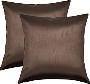 Aiking Home 人造丝抱枕套,拉链封口,2 件套 棕色 26''x 26''
