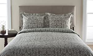 Elite Home Products 300DSTW1D1CNTBY T300 Canterbury Scroll Duvet Sets Gray,Twin Size,Oxford Tan,Twin