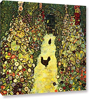 Art Wall Garden Path with Chickens Gallery Wrapped Canvas by Gustav Klimt, 24 by 24-Inch