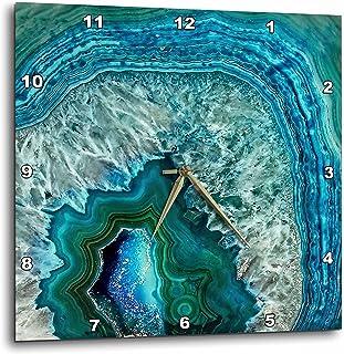 "3dRose Uta Naumann 图案 - 奢华水蓝色大理石宝石矿物石 - 挂钟 蓝色 13"" x 13"" dpp_266902_2"
