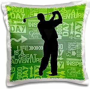 3dRose pc_173209_1 男性高尔夫剪影中中摆着蓝色绿色冒险字样艺术枕套,40.64 cm x 40.64 cm