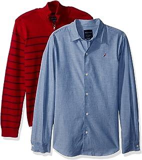 Nautica 男孩两件套毛衣和条纹衬衫套装