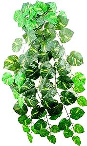 Admired By Nature 人工悬挂式腮红植物叶适用于家庭办公室、婚礼和餐厅装饰,121.92cm 长,2 件 GG4628-POTHOS-2