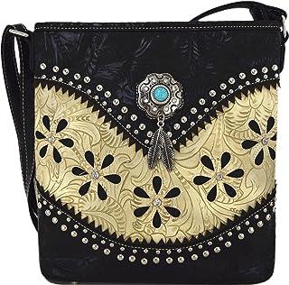 西式风格加厚皮革斜挎包手提包隐藏携带钱包女士国家单肩包