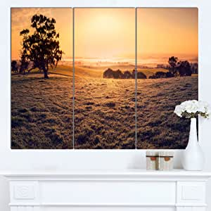 "Designart MT14766-271 梦幻之野 Panorama - 景观艺术品 光泽金属墙壁艺术 黄色 36x28"" - 3 Panels MT14766-3P"