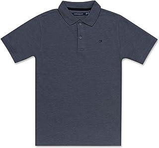Calvin Klein 儿童纯色珠地布Polo衫