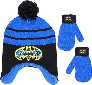 DC Comics 男童蝙蝠侠冬季帽和手套套装,5-13 岁
