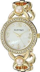 Ellen Tracy 女式石英金属和合金手表,颜色:金色调(型号:ET5233GD)