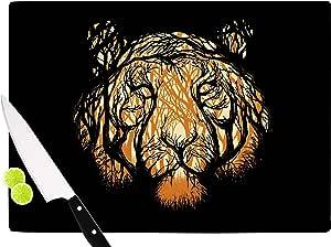 "KESS InHouse DC2016ACB01 数字卡宾犬""隐藏饥饿""橙色插图切割板,多色 多种颜色 11.5 x 8.25"" DC2016ACB01"