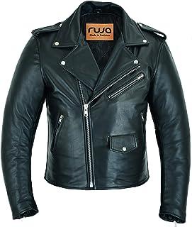 Ruja 男士经典牛皮真皮摩托车骑行者完美夹克