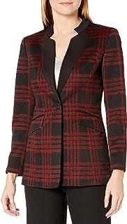 Kasper 女式 1 粒扣立领大窗格夹克